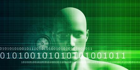 ser humano: Mind Código cerebro como la visualización de datos Concept Art Foto de archivo