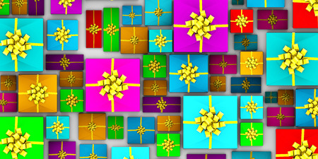 laid: Wrapped Gifts Laid Out from a Top View Stock Photo