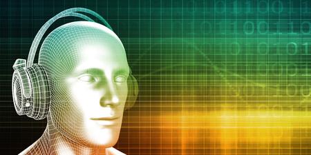 digital music: Digital Music Experience with Man Wearing Headphones