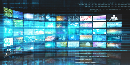 video wall: Media Technologies Concept as a Video Wall Background Stock Photo