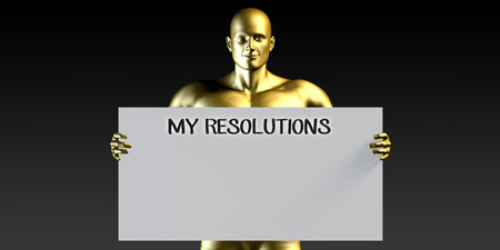 resolutions: My Resolutions with a Man Holding Placard Poster Template Stock Photo