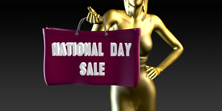lady shopping: National Day Sale with a Lady Holding Shopping Bags Stock Photo