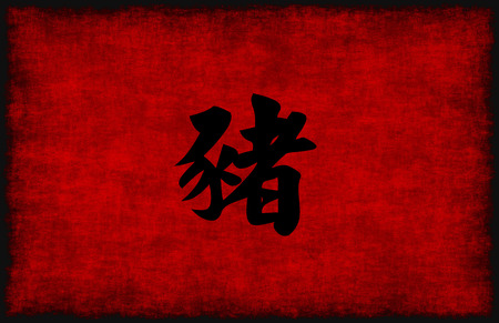 chinese symbol: Chinese Calligraphy Symbol for Pig in Red and Black Stock Photo