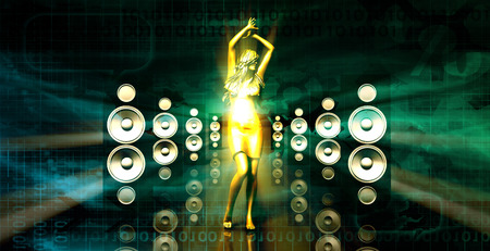 sound system: Sound System with Female Dancing as a Music Concept