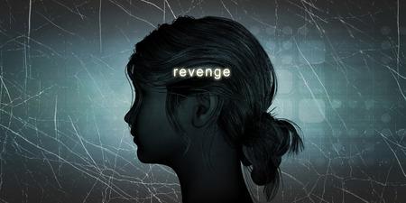 venganza: Mujer que hace frente la venganza como un desafío personal concepto Foto de archivo