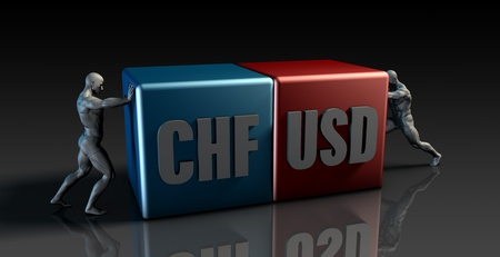 swiss franc: CHF USD Currency Pair or Swiss Franc vs American Dollar Stock Photo