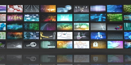 monitor: Multimedia Background for Digital Network on the Internet Stock Photo
