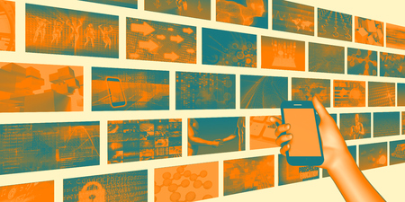 media distribution: Smartphone Content Distribution Mobile Industry Concept Art