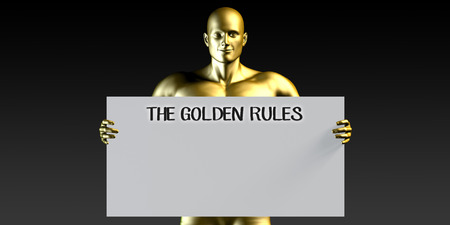 rules: The Golden Rules with a Man Holding Placard Poster Template Stock Photo