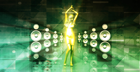 dancing house: Lady in the Nightclub Grooving to the Beats Stock Photo