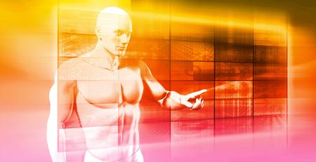 gatillo: El hombre de negocios de red Navegando en la pantalla táctil futurista