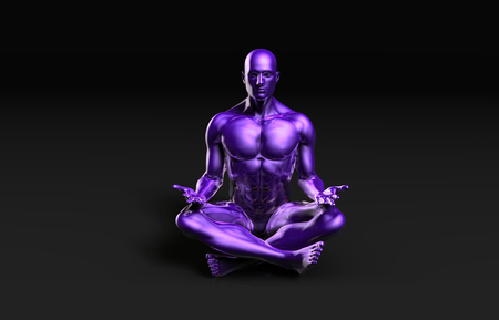 yoga outside: Man in Yoga Lotus Position Pose as Art