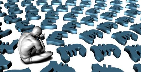 weak: Weak British Pound Currency or Weakening Finances and Man Crying