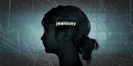 celos: Los celos cara de la mujer como un desaf�o personal concepto Foto de archivo
