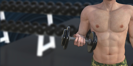 physique: Man Muscle Training for a Fit Body and Physique Stock Photo