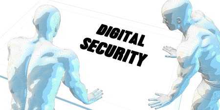 serious business: Digital Security Discussion and Business Meeting Concept Art Stock Photo