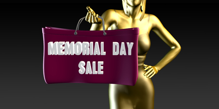 lady shopping: Memorial Day Sale with a Lady Holding Shopping Bags