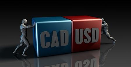 canadian dollar: CAD USD Currency Pair or Canadian Dollar vs American Dollar Stock Photo