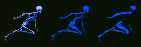 painful: 3D Concept of Human Male Body and Skeleton Running
