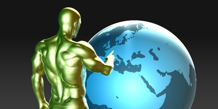 localization: Businessman Pointing at Europe or European Business Investment
