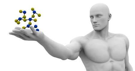 observing: Man Observing and Analyzing Molecule Structure Art