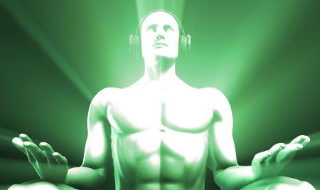 light ray: Man Listening to Music Meditating in Earphones 3d