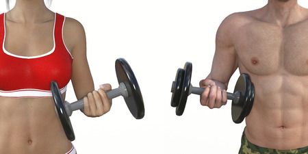 physique: Man and Woman Muscle Training for a Fit Body and Physique Stock Photo