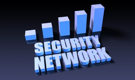 blue network: Security network graph chart in 3d on blue and black