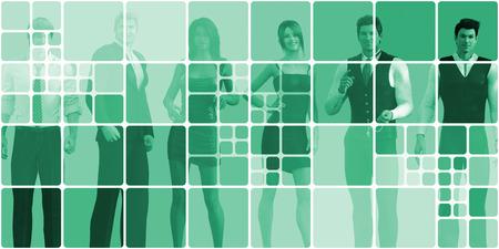personas comunicandose: La gente de negocios se comunican entre s� en l�nea Foto de archivo