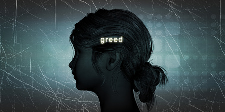 greed: Woman Facing Greed as a Personal Challenge Concept