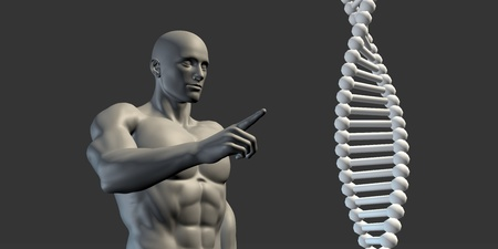 funding of science: Science DNA Helix Structure with Man Looking or Studying