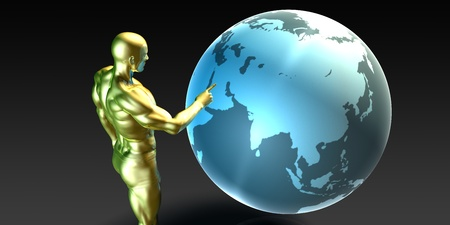 strategic focus: Businessman Pointing at Middle East or Arab States Concept Stock Photo