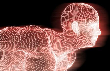 consciousness: Human Wireframe and Digital Consciousness System Concept