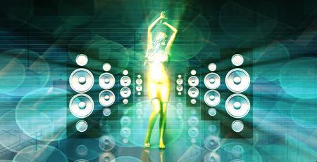 éxtasis: Disco Lady bailando en un club nocturno como concepto Foto de archivo