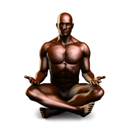 male figure: Illustration of a Male Figure Meditating in 3d