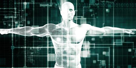 Gezondheidszorg technologie en medische scan van een lichaamsdiagnose Stockfoto