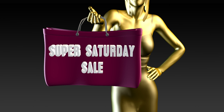 lady shopping: Super Saturday Sale with a Lady Holding Shopping Bags Stock Photo