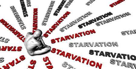 starvation: Suffering From Starvation with a Victim Crying Male