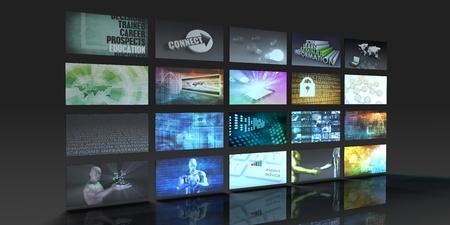 viendo television: Producción de Televisión concepto de tecnología con Video Wall