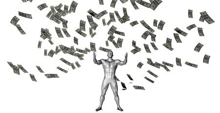 raining: Dinero que cae del cielo con el hombre Debajo