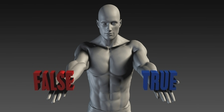 belief: True of False as a Versus Choice of Different Belief Stock Photo
