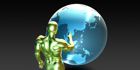 localization: Businessman Pointing at Asia or Asean States Concept Stock Photo