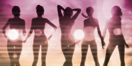 women having fun: Ladies at the Beach with Silhouette as a Background