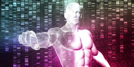 genetic: Scientific Research and Genetic DNA Science Concept Stock Photo