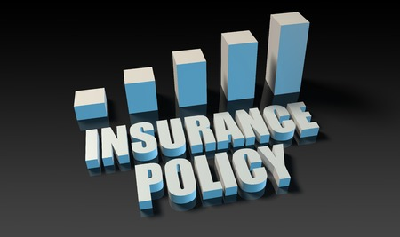 insurance policy: Insurance policy graph chart in 3d on blue and black