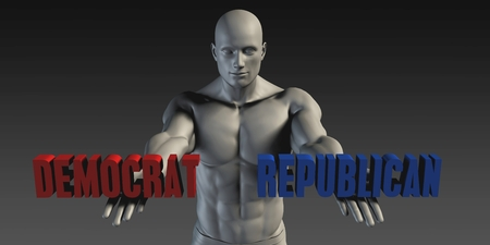 preference: Democrat or Republican as a Versus Choice of Different Belief Stock Photo
