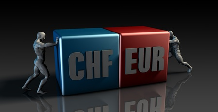 eur: CHF EUR Currency Pair or Swiss Franc vs European Euro Stock Photo