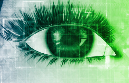 biometric: Retinal Scan Technology for Secure Biometric System Stock Photo