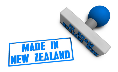 processed food: Made in New Zealand Stamp or Chop on Paper Concept in 3d