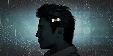 experiencing: Man Experiencing Guilt as a Personal Challenge Concept